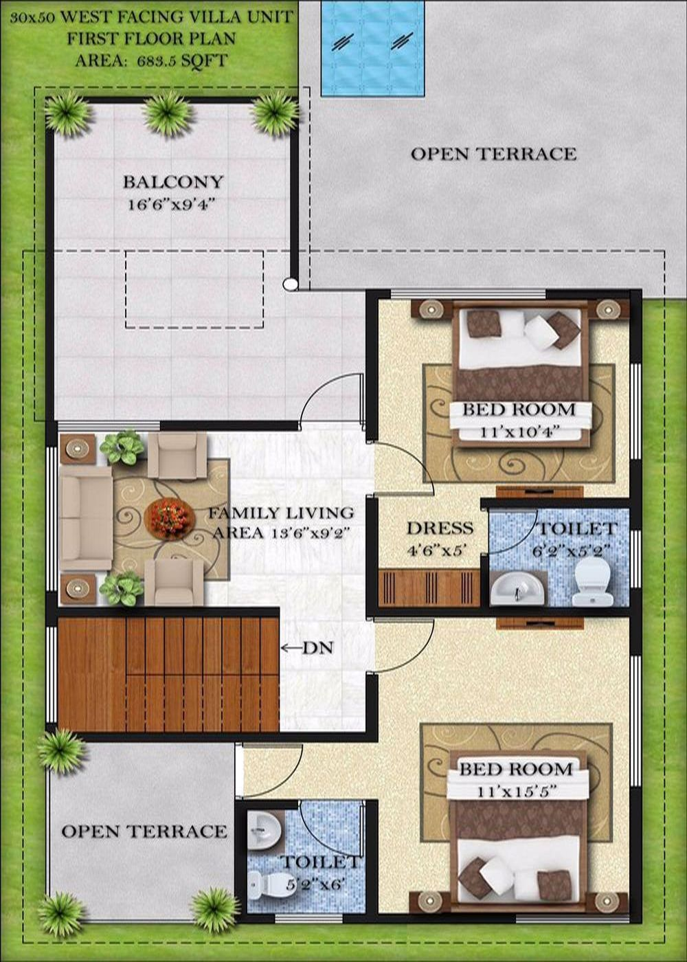30 x 60 house plans west facing