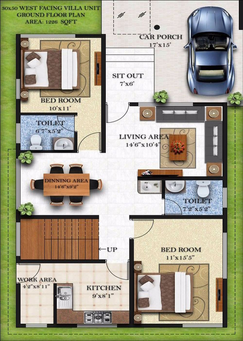House design 40 x 80 - Ground Floor Plan 30x50 Ground Floor West